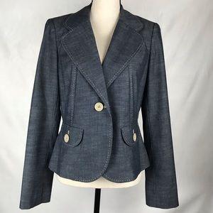 Ann Taylor Loft Blazer Blue w/Contrast Tan Stitch